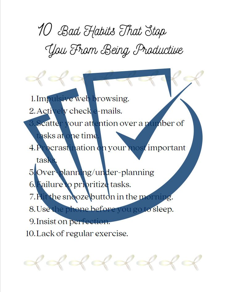 Popup Preview Of 10 Bad Habits That Stop You From Being Productive