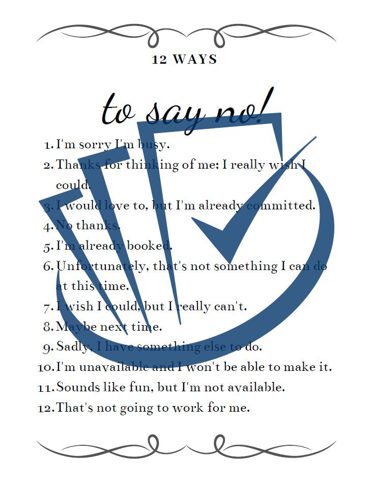 Popup Preview Of 12 Ways To Say No