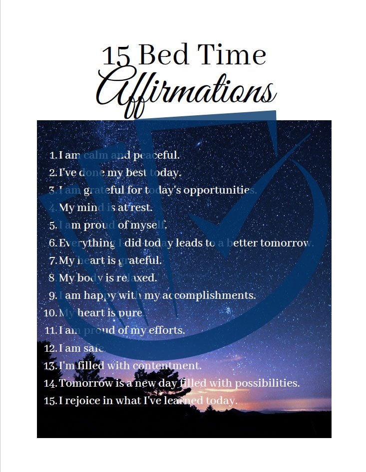 Popup Preview Of 15 Bed Time Affirmations