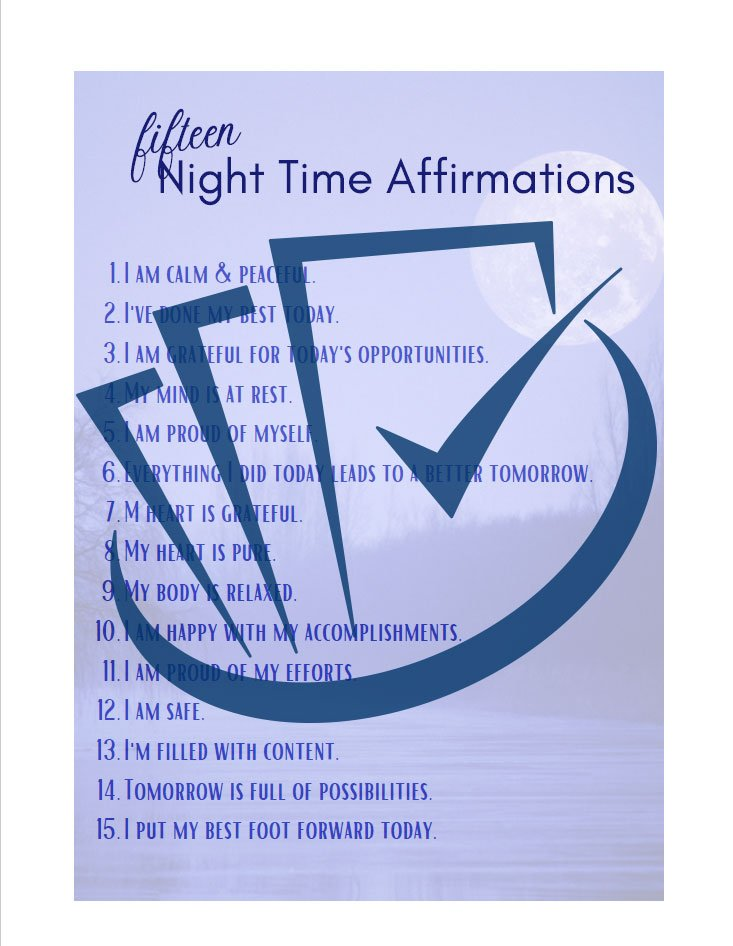Popup Preview Of 15 Night Time Affirmations