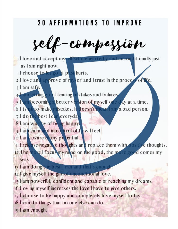 Popup Preview Of 20 Affirmations For Self-Compassion