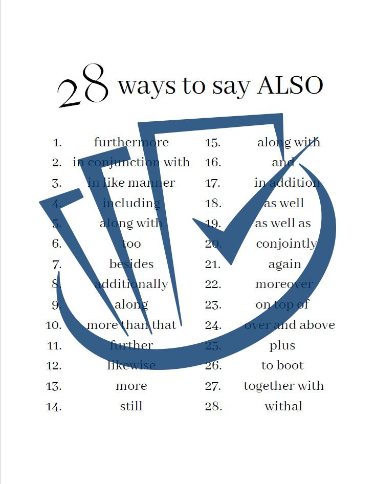 Popup Preview Of 28 Ways To Say Also