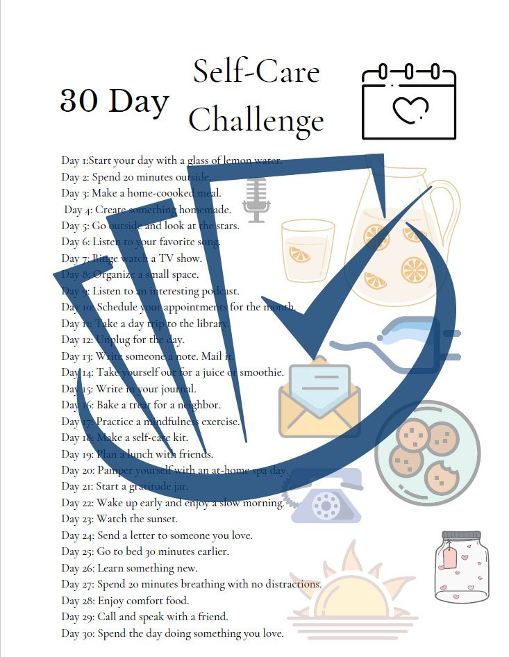 Popup Preview Of 30 Day Self-Care Challenge