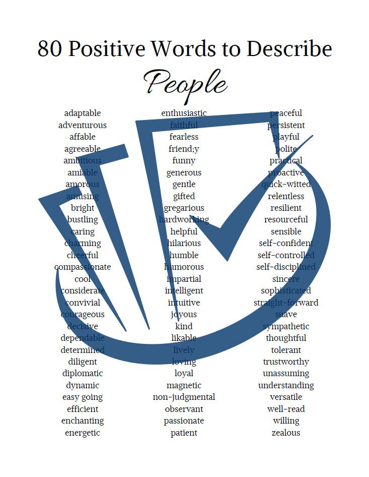 Popup Preview Of 80 Positive Words To Describe People