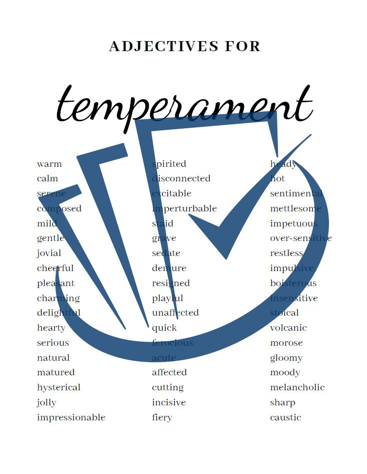 Popup Preview Of Adjectives For Temperament