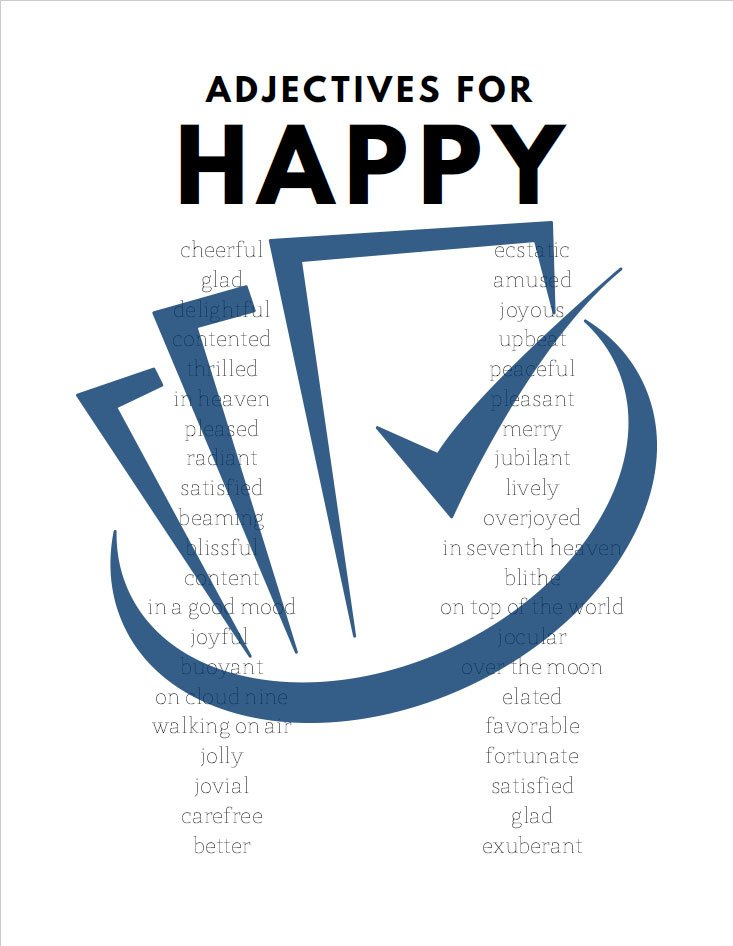 Popup Preview Of Adjectives For Happy