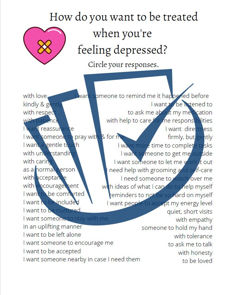 Popup Preview Of How Do You Want To Be Treated When You're Feeling Depressed