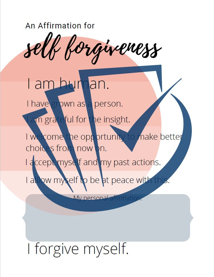Popup Preview Of An Affirmation For Self-Forgiveness