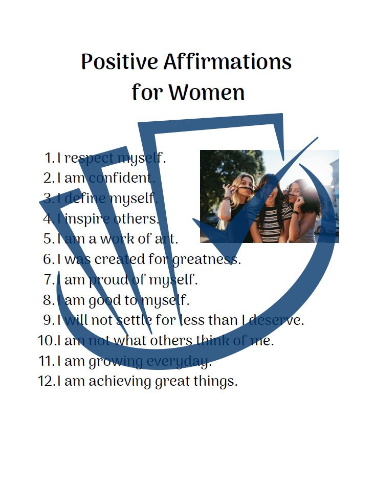 Popup Preview Of Positive Affirmations For Women